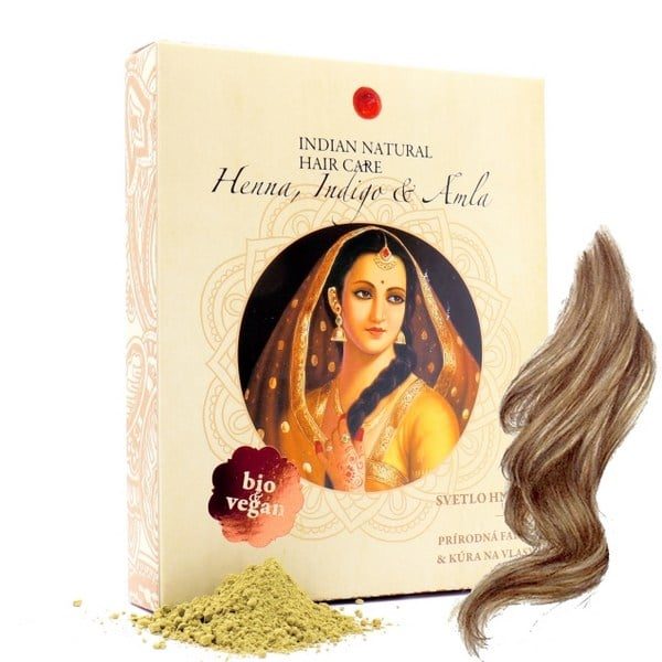 svetlohneda prirodna farba na vlasy henna indigo amla Indian natural hair care prirodno
