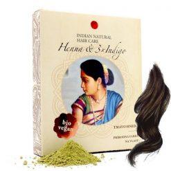 tmavohneda prirodna farba na vlasy henna 3x indigo Indian natural hair care prirodno