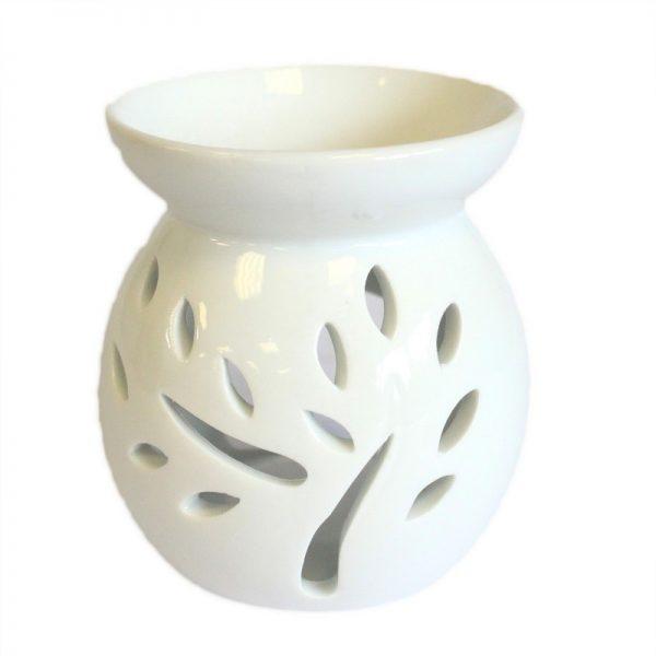 biela keramicka aromalampa strom prirodno