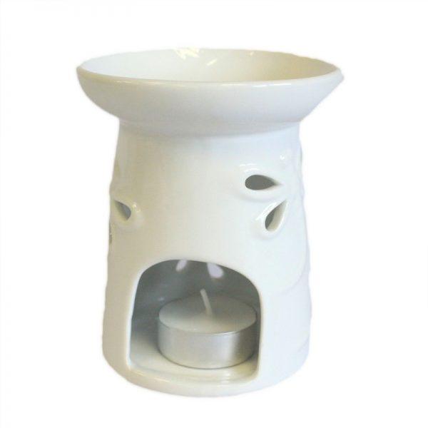 biela keramicka aromalampa vazka prirodno